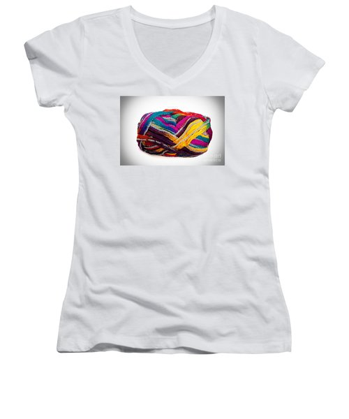 Colorful Yarn Women's V-Neck T-Shirt (Junior Cut) by Les Palenik