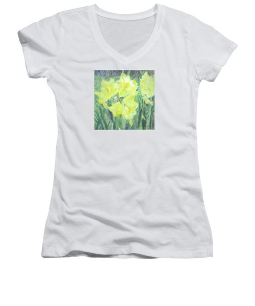Colorful  Yellow Flowers Women's V-Neck (Athletic Fit)