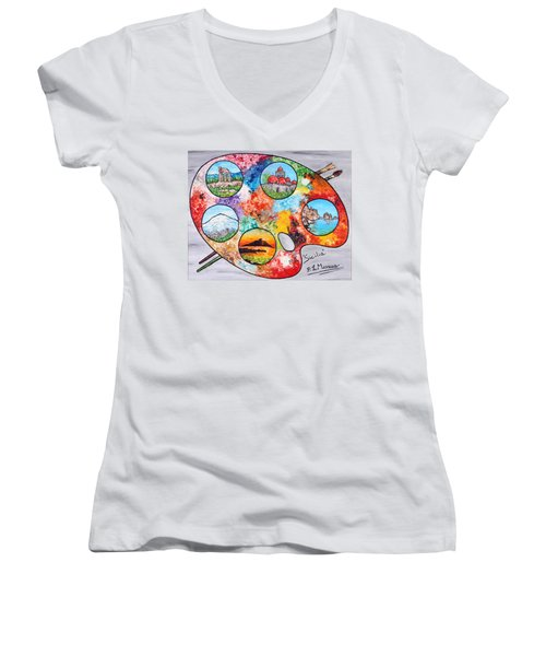 Colori Di Sicilia Women's V-Neck T-Shirt (Junior Cut) by Loredana Messina