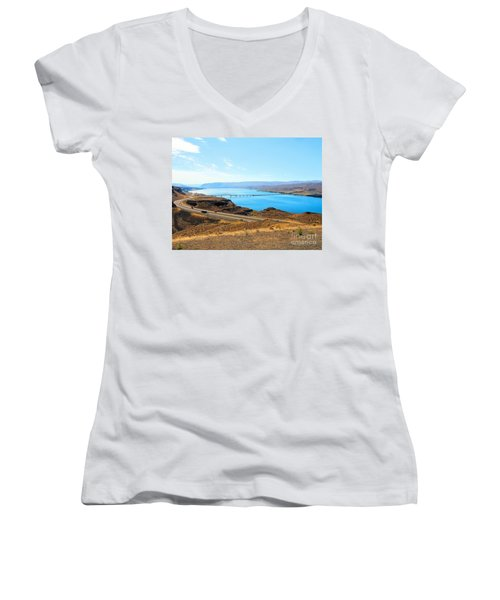 Columbia River From Overlook Women's V-Neck T-Shirt (Junior Cut) by Janette Boyd