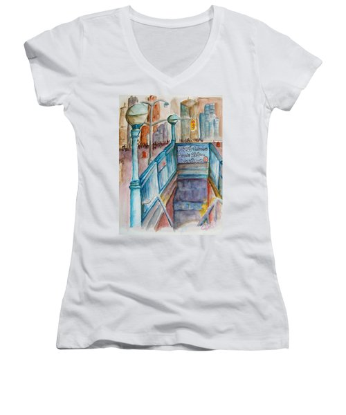 Columbus Circle Subway Stop Women's V-Neck T-Shirt