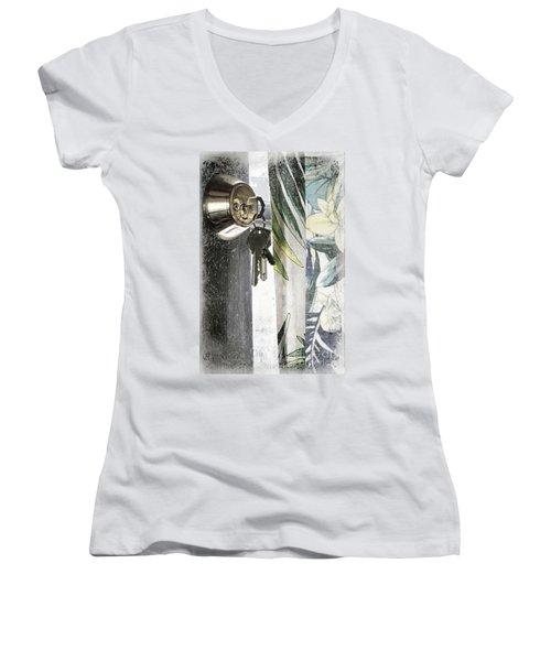 Women's V-Neck T-Shirt (Junior Cut) featuring the photograph Come Back Soon by Ellen Cotton
