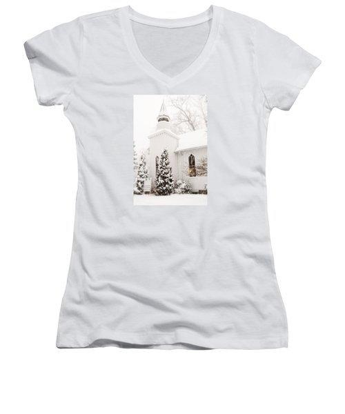 Women's V-Neck T-Shirt (Junior Cut) featuring the photograph White Christmas In Maryland Usa by Vizual Studio