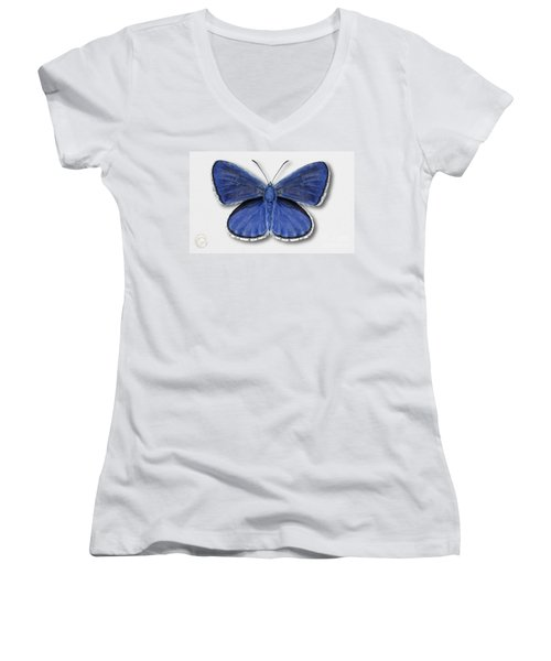 Common Blue Butterfly - Polyommatus Icarus Butterfly Naturalistic Painting - Nettersheim Eifel Women's V-Neck