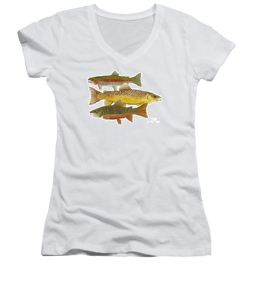 Common Trout  Rainbow Brown And Brook Women's V-Neck T-Shirt (Junior Cut) by Thom Glace