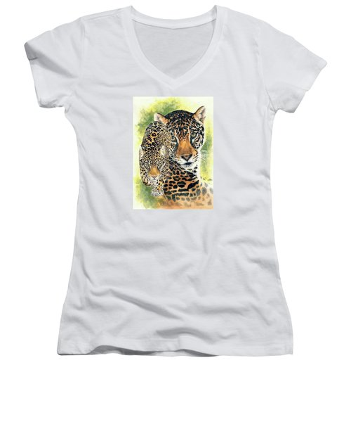 Women's V-Neck T-Shirt (Junior Cut) featuring the mixed media Compelling by Barbara Keith
