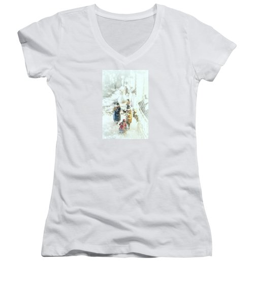 Women's V-Neck T-Shirt (Junior Cut) featuring the photograph Concert In The Snow by Caitlyn  Grasso