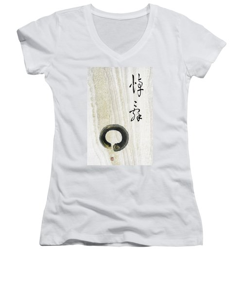 Women's V-Neck T-Shirt (Junior Cut) featuring the mixed media Condolences Tooji With Enso Zencircle by Peter v Quenter