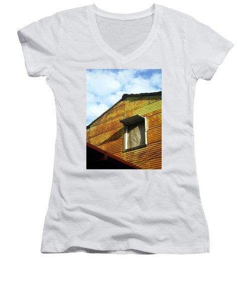 Women's V-Neck T-Shirt (Junior Cut) featuring the photograph Conventillo by Silvia Bruno