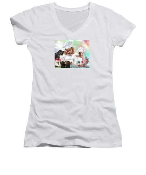 Cookin Up A Little Christmas Magic Women's V-Neck T-Shirt