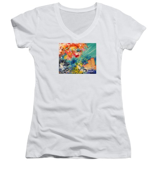 Women's V-Neck T-Shirt (Junior Cut) featuring the painting Coral Madness by Lyn Olsen