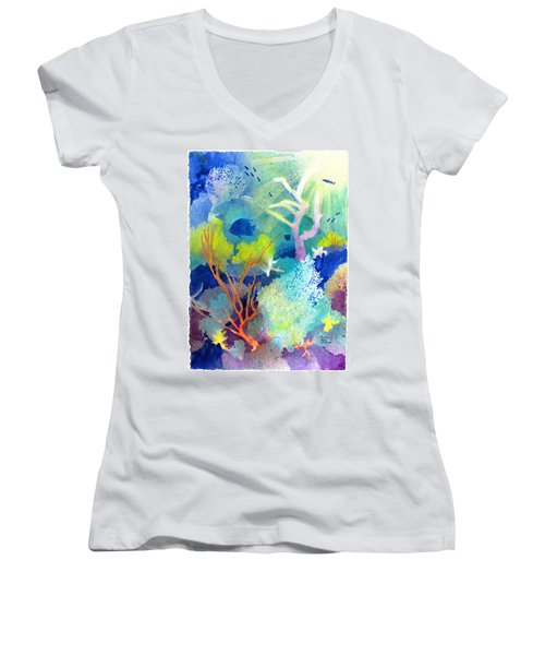 Coral Reef Dreams 1 Women's V-Neck (Athletic Fit)