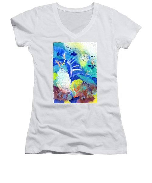 Coral Reef Dreams 3 Women's V-Neck (Athletic Fit)
