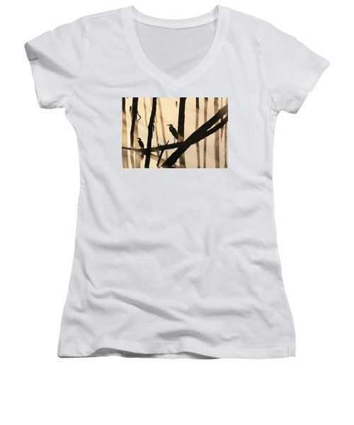 Cormorant And The Heron Women's V-Neck T-Shirt