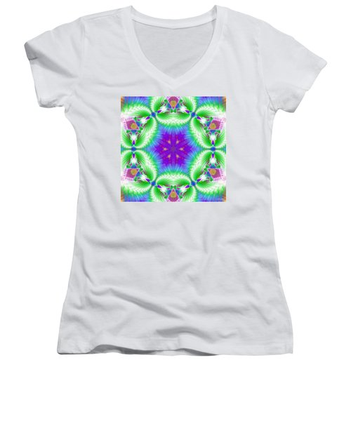 Cosmic Spiral Kaleidoscope 10 Women's V-Neck (Athletic Fit)