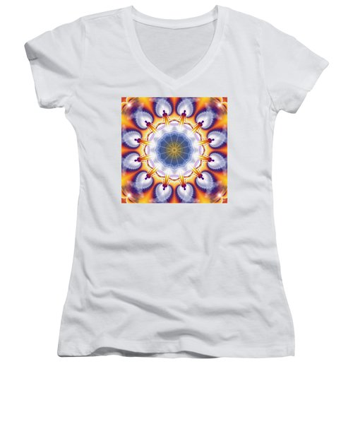 Cosmic Spiral Kaleidoscope 34 Women's V-Neck T-Shirt (Junior Cut) by Derek Gedney