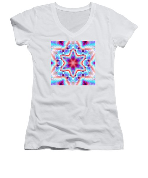 Cosmic Spiral Kaleidoscope 45 Women's V-Neck