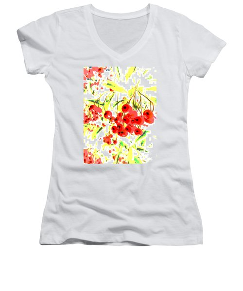 Cotoneaster Women's V-Neck T-Shirt (Junior Cut) by Barbara Moignard