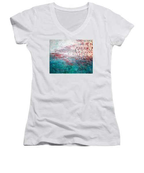Cottages On The Bay  Women's V-Neck T-Shirt (Junior Cut) by George Riney