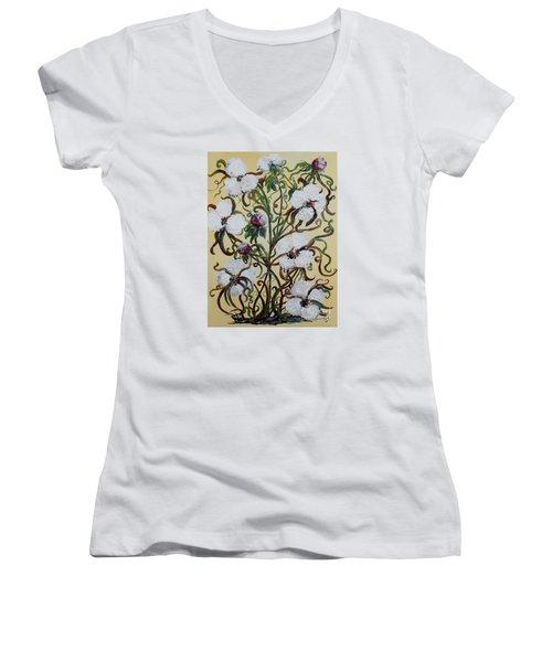 Cotton #1 - King Cotton Women's V-Neck T-Shirt (Junior Cut) by Eloise Schneider