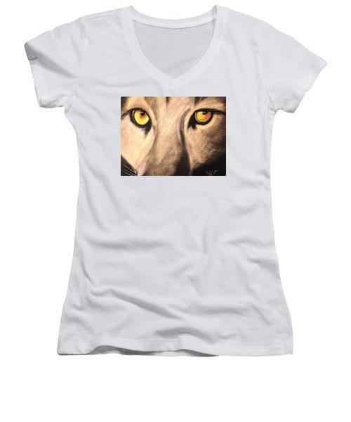 Cougar Eyes Women's V-Neck T-Shirt (Junior Cut) by Renee Michelle Wenker