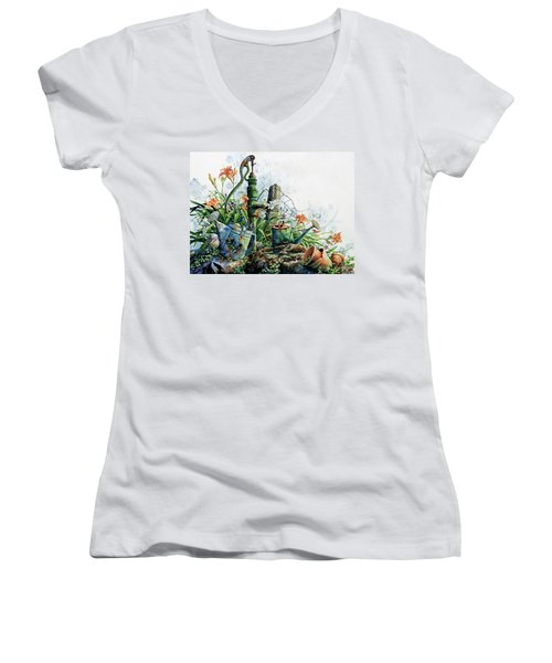 Women's V-Neck T-Shirt featuring the painting Country Charm by Hanne Lore Koehler