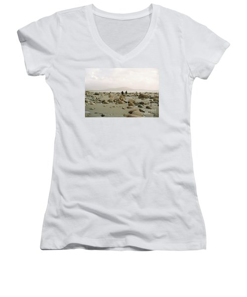 Women's V-Neck T-Shirt (Junior Cut) featuring the photograph Couple And The Rocks by Rebecca Harman