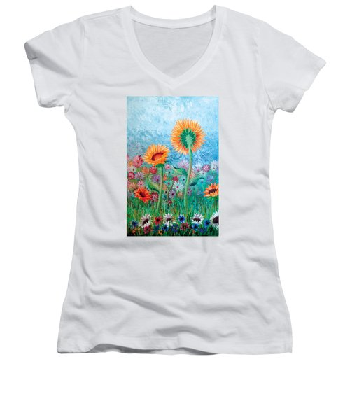 Courting Sunflowers Women's V-Neck (Athletic Fit)