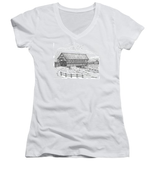 Covered Bridge Coventry Vermont Women's V-Neck