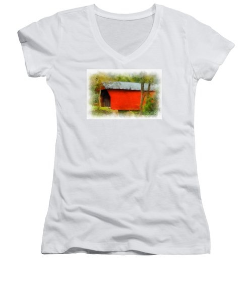 Covered Bridge - Sinking Creek Women's V-Neck T-Shirt