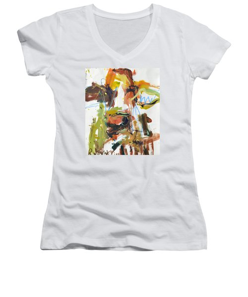 Cow With Green And Brown Women's V-Neck T-Shirt (Junior Cut) by Robert Joyner