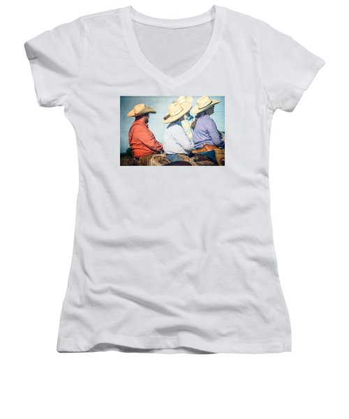 Women's V-Neck T-Shirt (Junior Cut) featuring the photograph Cowboy Colors by Steven Bateson