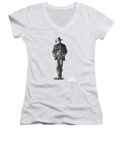 Women's V-Neck T-Shirt (Junior Cut) featuring the drawing Cowboy by Marianne NANA Betts