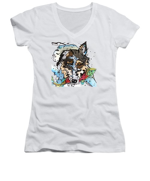 Women's V-Neck T-Shirt (Junior Cut) featuring the painting Coyote  by Nicole Gaitan