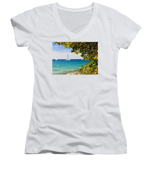 Women's V-Neck T-Shirt (Junior Cut) featuring the photograph Cozumel Sailboats by Mitchell R Grosky