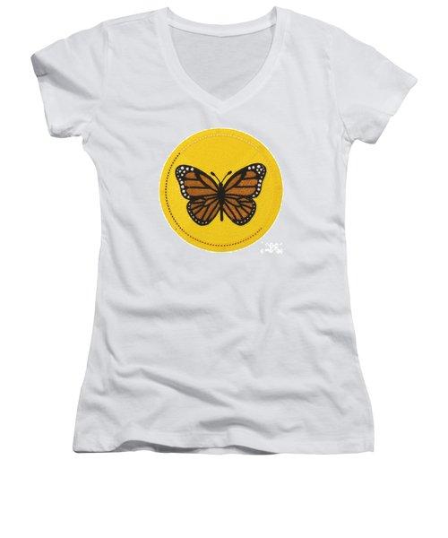 Cradleboard Beadwork Spring Butterfly Women's V-Neck