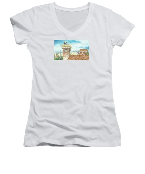 Women's V-Neck T-Shirt (Junior Cut) featuring the painting Cranes In Croatia by Christina Verdgeline
