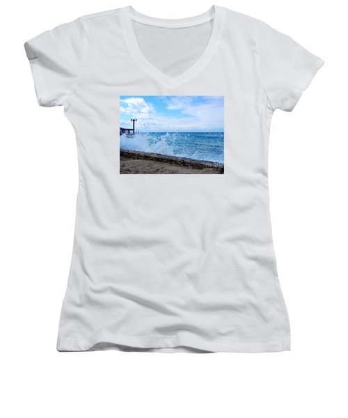 Women's V-Neck T-Shirt (Junior Cut) featuring the photograph Crashing Waves In Cozumel by Debra Martz
