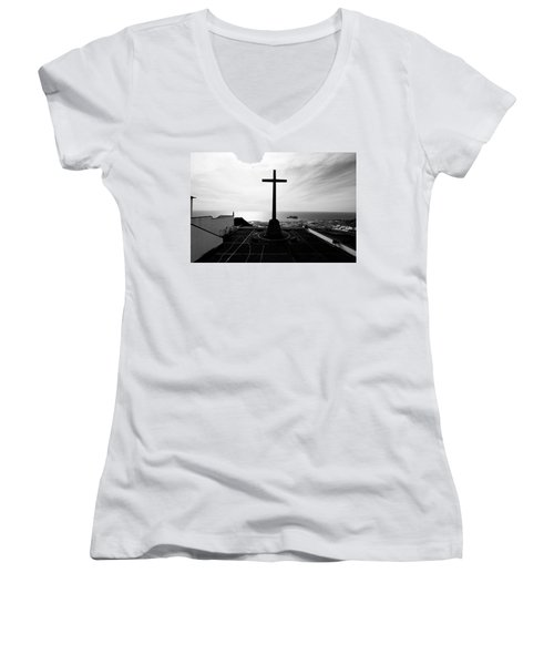 Cross Atop Old Chapel In Village  Women's V-Neck (Athletic Fit)