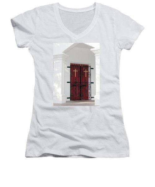 Key West Church Doors Women's V-Neck