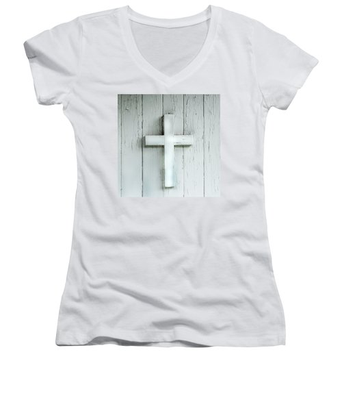 Cross On Holy Angels Sugar Island Michigan Women's V-Neck T-Shirt