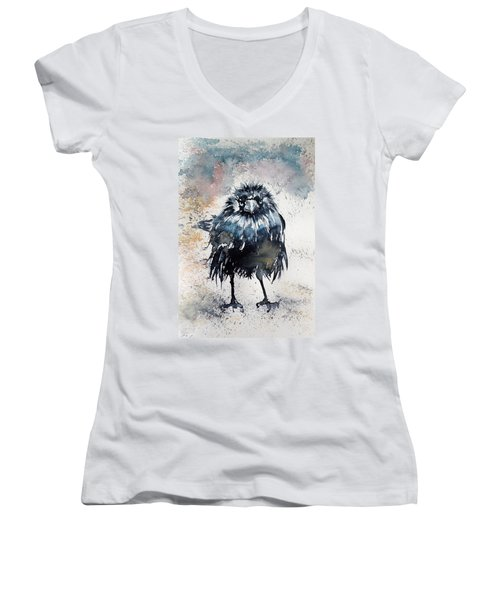 Crow After Rain Women's V-Neck T-Shirt (Junior Cut)