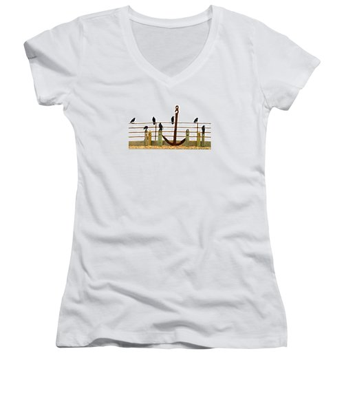 Crows At Anchor Women's V-Neck T-Shirt (Junior Cut) by John King
