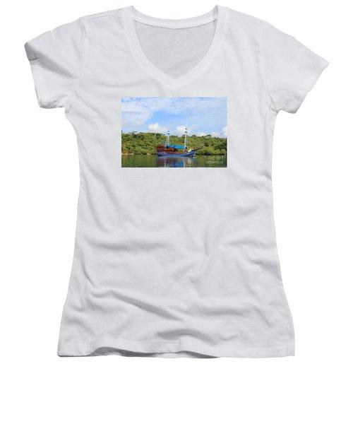 Women's V-Neck T-Shirt (Junior Cut) featuring the photograph Cruising Yacht by Sergey Lukashin