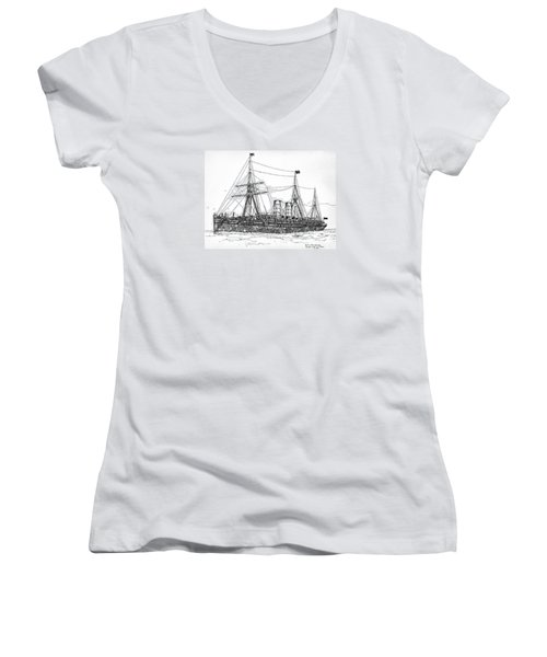 Women's V-Neck T-Shirt (Junior Cut) featuring the drawing Cunard Liner Umbria 1880's by Ira Shander