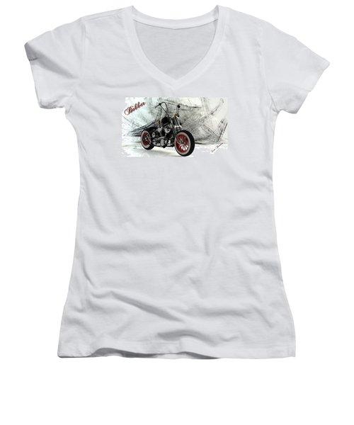 Custom Bobber Women's V-Neck T-Shirt (Junior Cut) by Louis Ferreira