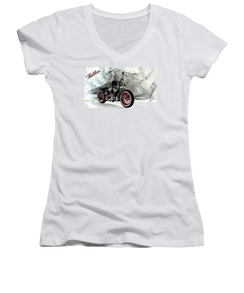 Custom Bobber Women's V-Neck T-Shirt