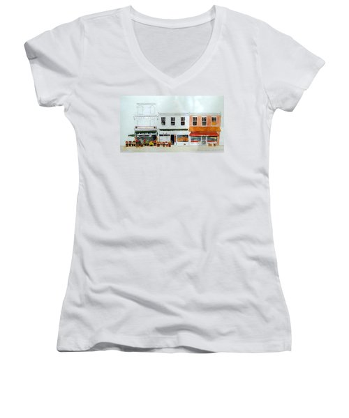 Women's V-Neck T-Shirt (Junior Cut) featuring the painting Cutrona's Market On King St. by William Renzulli