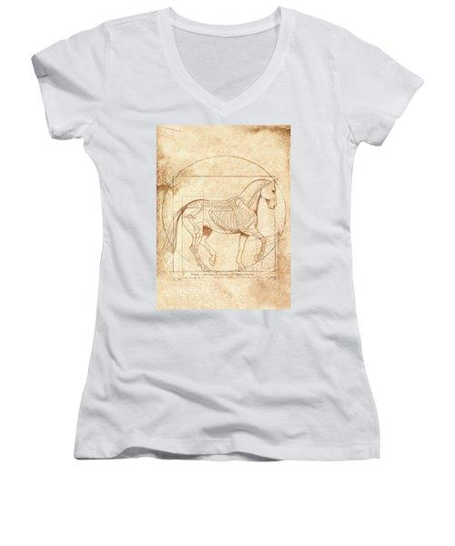 da Vinci Horse in Piaffe Women's V-Neck T-Shirt (Junior Cut) by Catherine Twomey