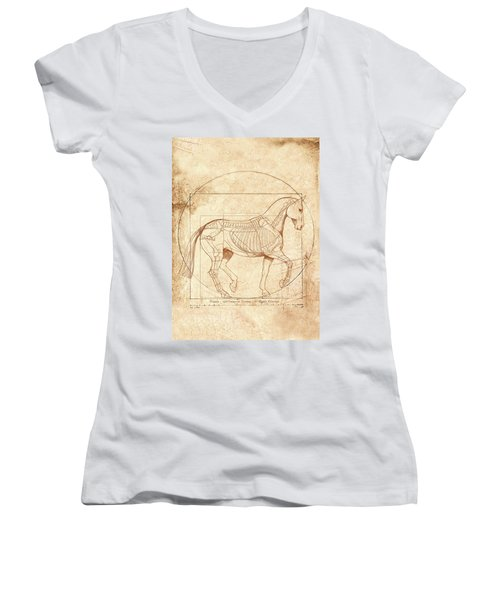 da Vinci Horse in Piaffe Women's V-Neck T-Shirt